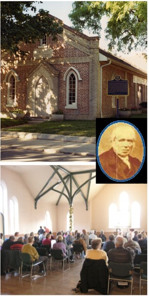 Collage illustrating Schoolhouse history including exterior of the Schoolhouse, portrait of Enoch Turner and a talk being held in the West Hall