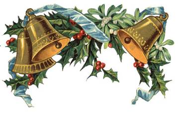 Illustration of Bells with blue ribbons and holly